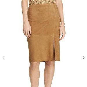 Ralph Lauren suede leather beautiful skirt. New